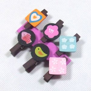 Wooden peg embellishments, 1cm x 3cm x 3.5cm, 6 pieces, (MJZ028)